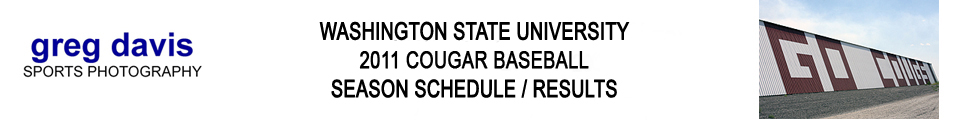 Washington State Cougar Baseball 2011 Season Schedule and Results