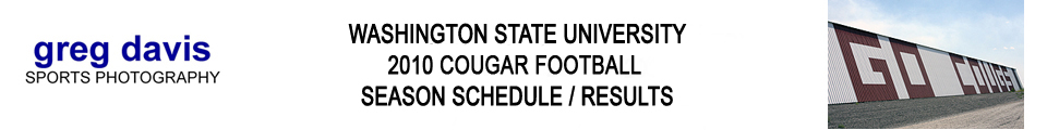 Washington State Cougar Football - 2010 Schedule/Results Banner