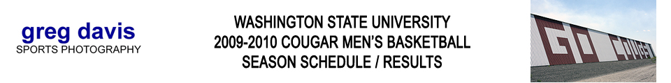 Washington State Men's Basketball 2009-2010 Schedule / Results