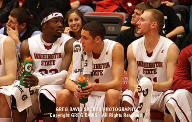 DeAngelo Casto, Klay Thompson, Abe Lodwick - Washington State Basketball